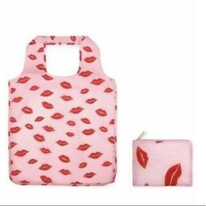 Kate Spade pink with red lips reusable tote/pouch